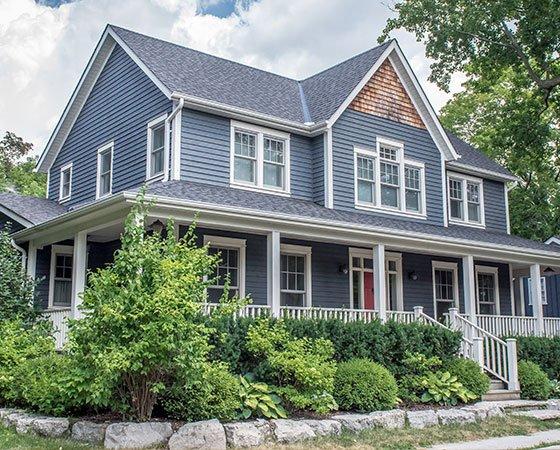 Suburban house with gray siding